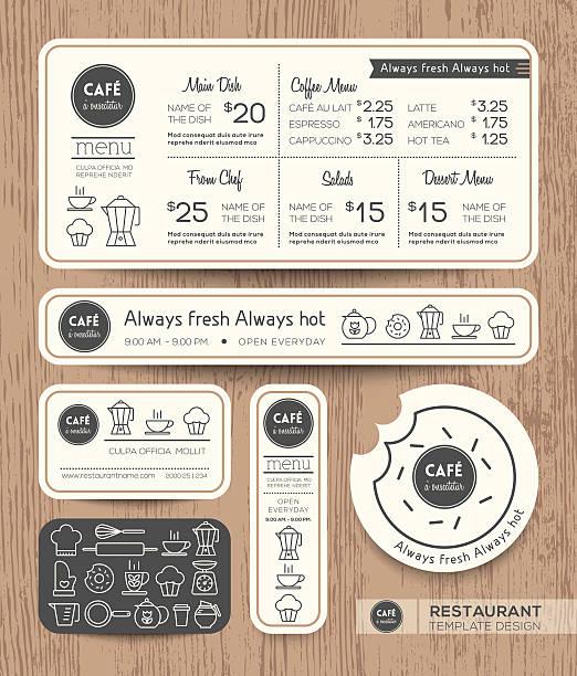 レストラン「カフェグラフィックデザインテンプレートのセットメニュー - ランチョンマット点のイラスト素材/クリップアート素材/マンガ素材/アイコン素材