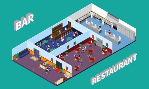ilustrações de stock, clip art, desenhos animados e ícones de restaurant cafe staff isometric people composition - kitchen counter