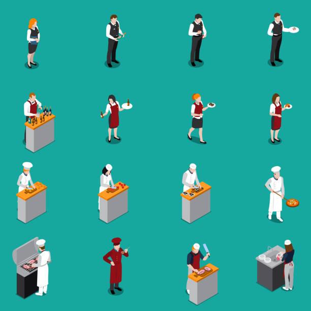 ilustrações de stock, clip art, desenhos animados e ícones de restaurant cafe staff isometric people - kitchen counter