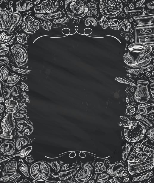 ilustrações, clipart, desenhos animados e ícones de restaurante café vetor de modelo de projeto do cardápio - delicatessen