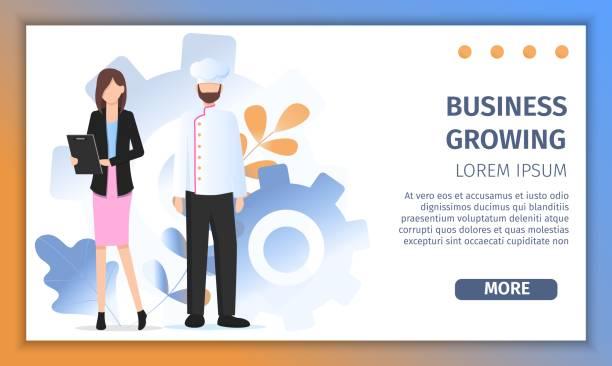 ilustraciones, imágenes clip art, dibujos animados e iconos de stock de éxito del chef del restaurante negocio crecimiento solución - busy restaurant kitchen