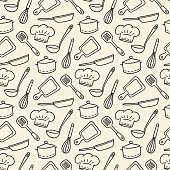 istock Restaurant Chef. Cute hand drawn seamless pattern. Vector illustration 1210441991