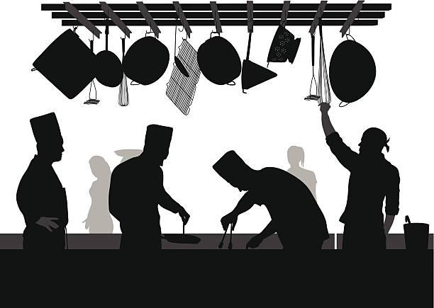 restaurantchef - gewerbliche küche stock-grafiken, -clipart, -cartoons und -symbole