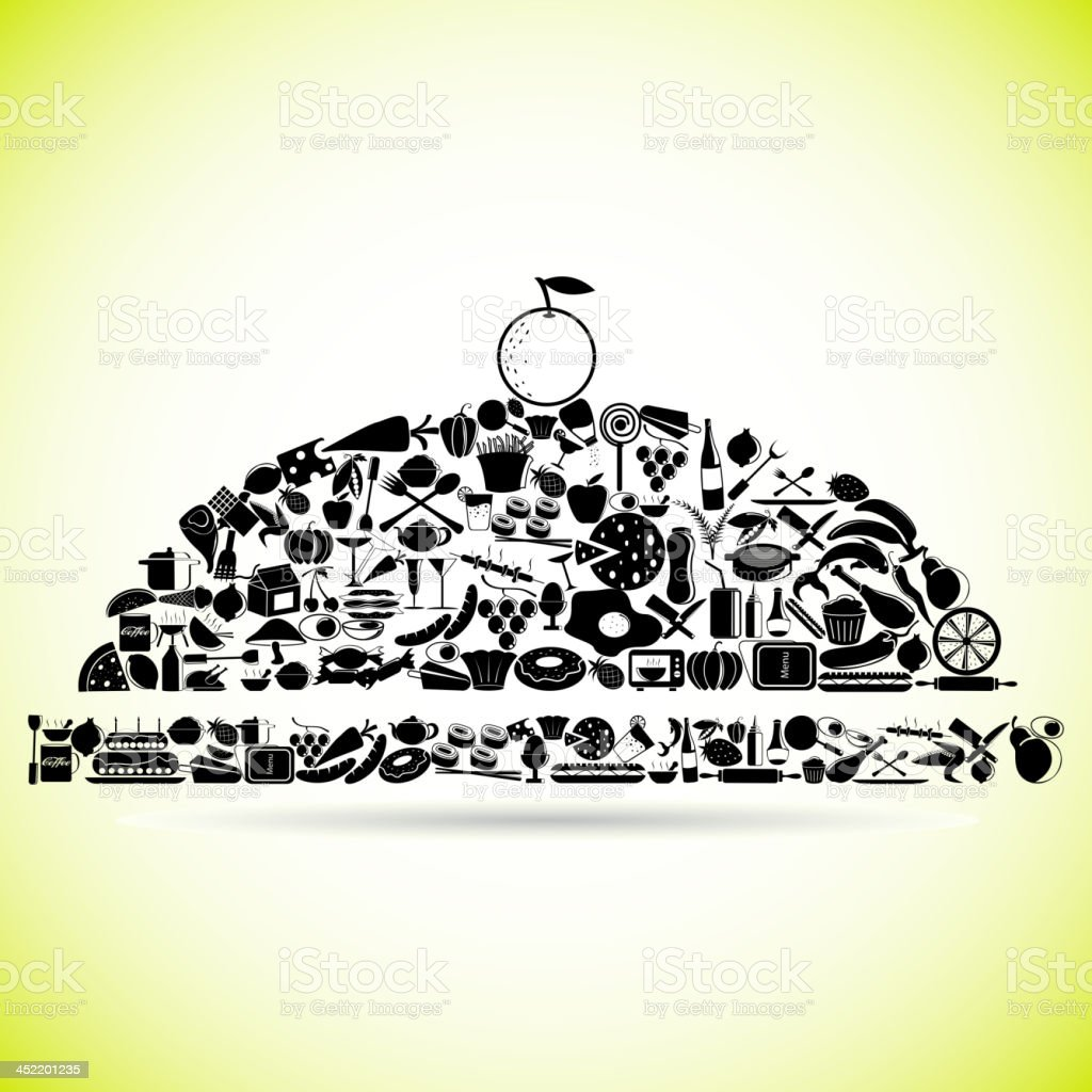 Restaurant Cloche made of Food icon royalty-free stock vector art