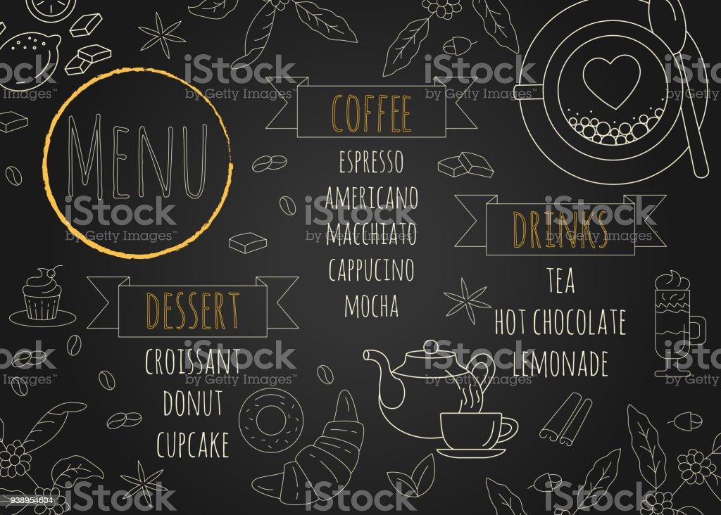 restaurant coffee menu design with chalkboard background stock