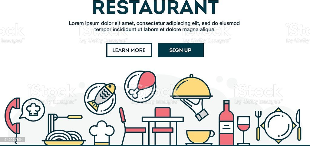 Restaurant, colorful concept header, flat design thin line style vector art illustration