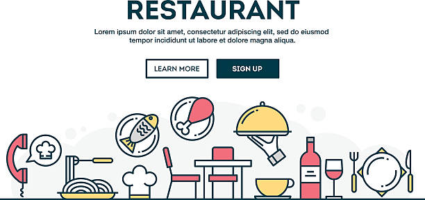 Restaurant, colorful concept header, flat design thin line style vector art illustration