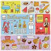 Restaurant colorful doodle banners 2. Hand drawn. Vector illustration.
