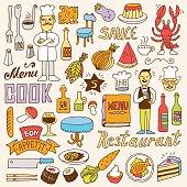 Restaurant colorful doodle set 2. Hand drawn. Vector illustration.