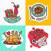 Fast food restaurant 4 flat icons composition of sushi bar and spaghetti dish abstract isolated vector illustration