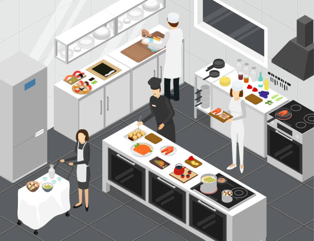 illustrazioni stock, clip art, cartoni animati e icone di tendenza di restaurant cooking room interior with furniture isometric view. vector - kitchen situations