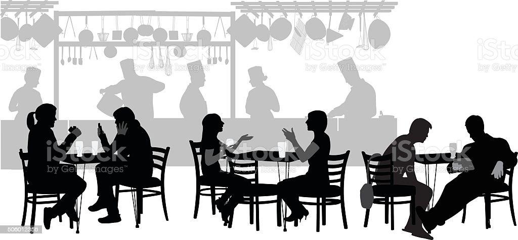 Restaurant Customers vector art illustration