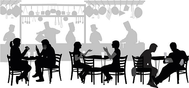 Les clients du Restaurant - Illustration vectorielle