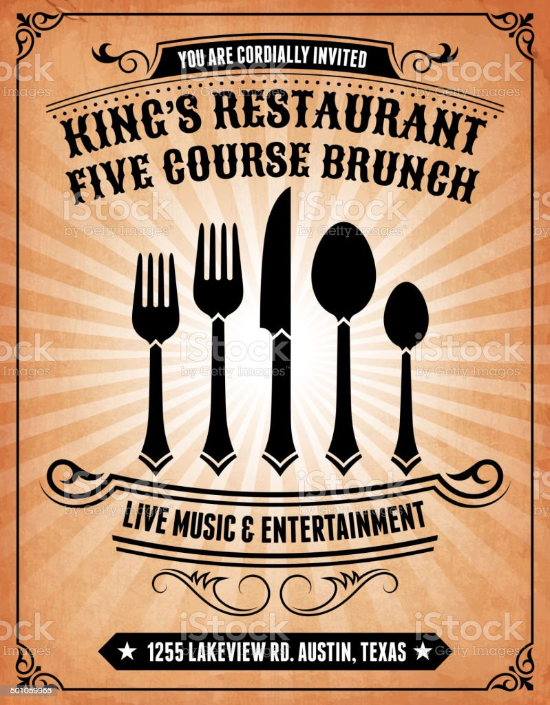 Restaurant Deal on royalty free vector Background Poster vector art illustration