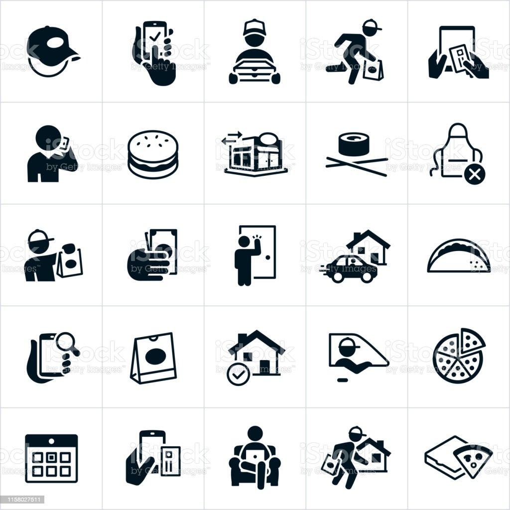 Restaurant Delivery Icons - Grafika wektorowa royalty-free (Danie główne)