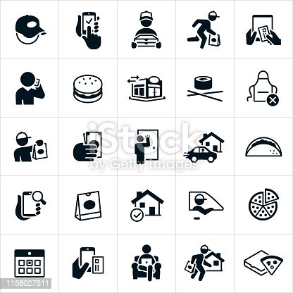 A set of icons representing the industry of the ever increasing popularity of take out food delivery. The icons include delivery men, take out, ordering from smartphone, searching on smartphone, fast delivery, ordering with credit card, ordering over the phone, hamburger, taco, pizza, fast food, restaurant, sushi, delivery, tip, delivery person knocking on door, food bag, home delivery, calendar and a person ordering food from comforts of a couch just to name a few.