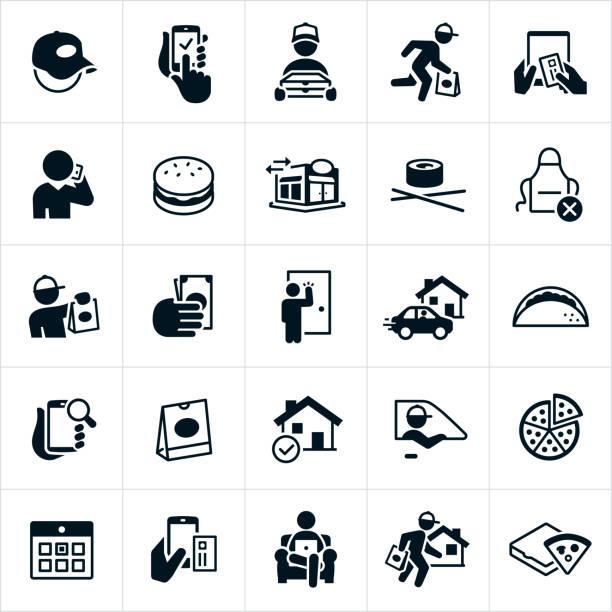 restaurant delivery icons - bestellen stock-grafiken, -clipart, -cartoons und -symbole
