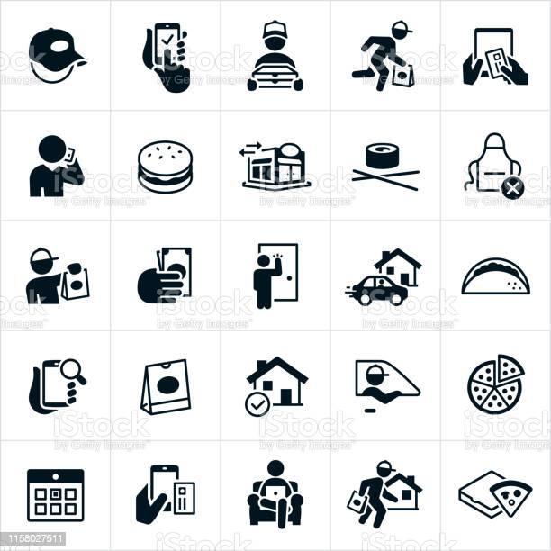 Restaurant Delivery Icons - Stockowe grafiki wektorowe i więcej obrazów Danie główne