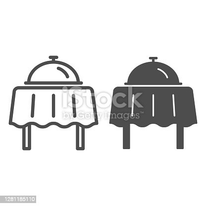 istock Restaurant dish with lid on table line and solid icon, Sea cruise concept, Breakfast food tray sign on white background, Restaurant cloche on table icon in outline style for mobile. Vector graphics. 1281185110