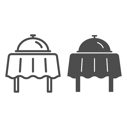 Restaurant dish with lid on table line and solid icon, Sea cruise concept, Breakfast food tray sign on white background, Restaurant cloche on table icon in outline style for mobile. Vector graphics
