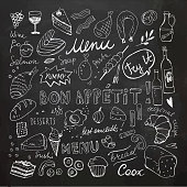 Restaurant Doodle Set. Hand Drawn Vector Illustration. Chalk Drawing. Bon Appetit Chalkboard Food Collection. Clip Art Set. Desserts, omelettes, bakery, cheese, olive oil, ham, meat, fish, salmon, bread, cupcake, menu, yummy, cake, muffins, croissant, homemade, eggs, wine.
