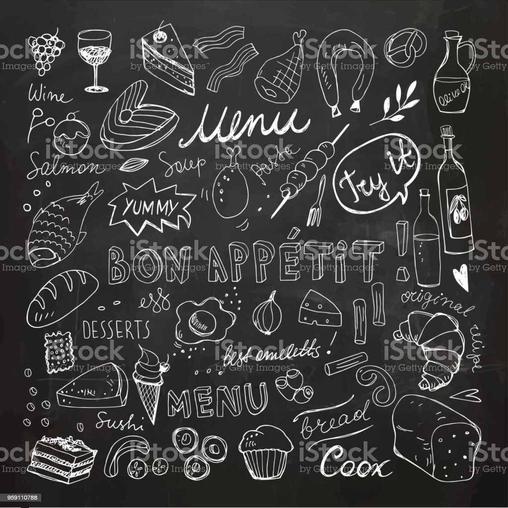 Restaurante garabato juego. Ilustración de Vector dibujado a mano. Dibujo de la tiza. Colección de comida buen provecho pizarra - ilustración de arte vectorial