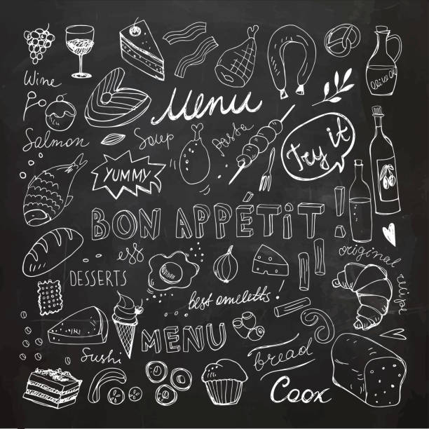 Restaurant Doodle Set. Hand Drawn Vector Illustration. Chalk Drawing. Bon Appetit Chalkboard Food Collection vector art illustration