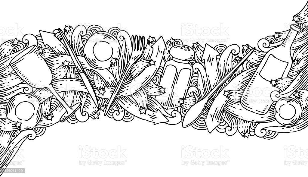 Restaurant doodles background royalty-free stock vector art