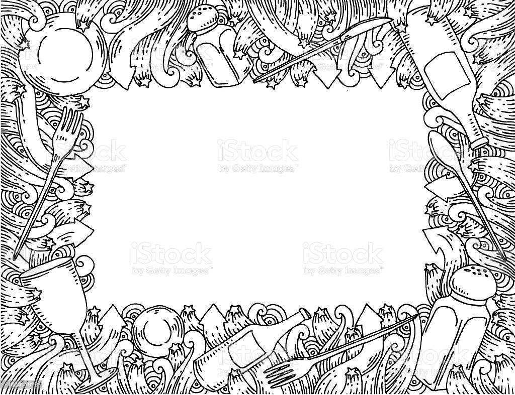 Restaurant doodles frame royalty-free stock vector art