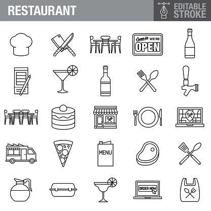 Restaurant Editable Stroke Icon Set
