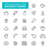 Food, Eating, Burger, Take Out Food, Fast Food Editable Stroke Icon Set