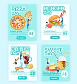 Restaurant Everyday Deals Brochures Flat Template. Pizza, Burger Special Offers, Drinks and Desserts Day Advertising. Cafe Dishes Discounts for Clients Poster, Flyer Cartoon Vector Layout