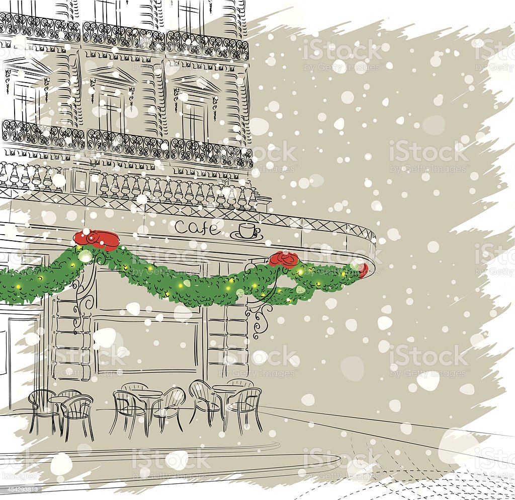 Restaurant facade with Christmas decorations vector art illustration