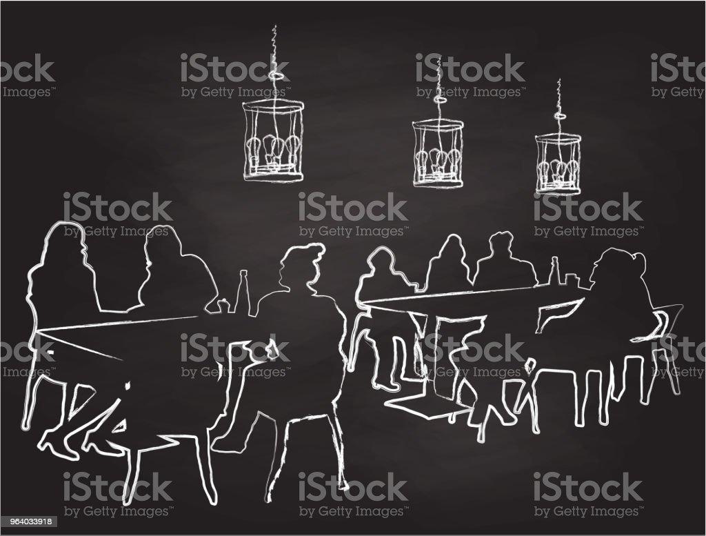 Restaurant Family Chalk - Royalty-free Black And White stock vector