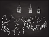 Funky outline chalkboard illustration of people sitting at tables in a trendy restaurant