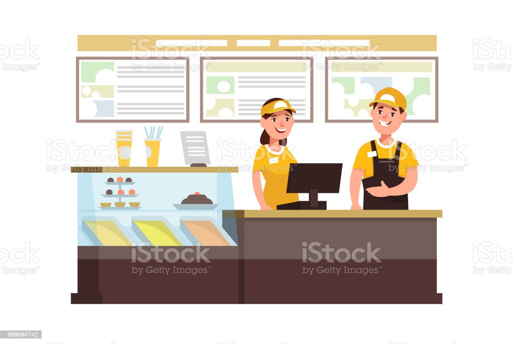 Restaurant-Fast-Food-Arbeiter in Interieur – Vektorgrafik