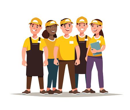 Restaurant Fast Food Worker Teamwork Stock Illustration - Download Image  Now - iStock