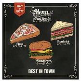 Restaurant Fast Foods menu on chalkboard vector format eps10