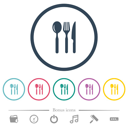 Restaurant flat color icons in round outlines
