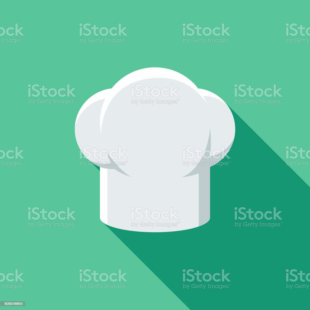 Restaurant Flat Design Chef's Hat Icon with Side Shadow A flat design styled restaurant icon with a long side shadow. Color swatches are global so it's easy to edit and change the colors. Canada stock vector