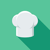 istock Restaurant Flat Design Chef's Hat Icon with Side Shadow 909346654