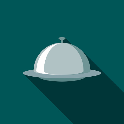 Restaurant Flat Design Cloche Icon with Side Shadow