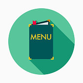 A flat design styled restaurant icon with a long side shadow. Color swatches are global so it's easy to edit and change the colors.