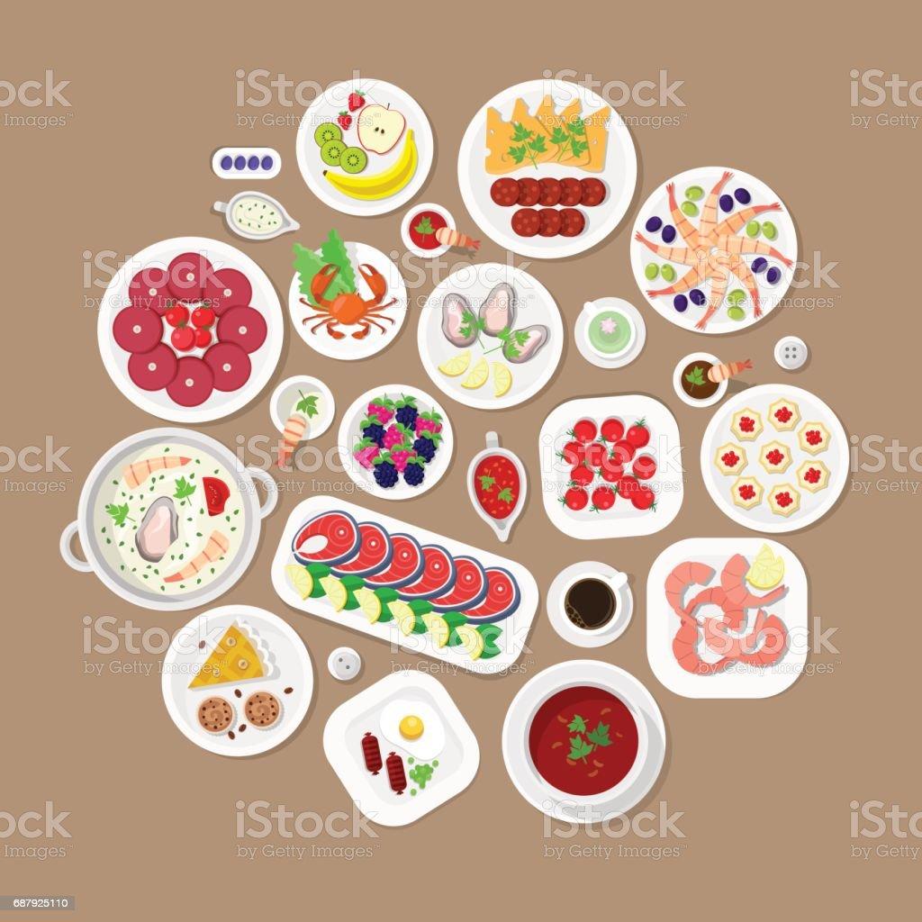 レストラン フラット スタイル デザイン ベクトル グラフィック トップ ビュー要素を設定します。日本のロブスター魚ステーキ海老牡蠣キャビア スープ ソーセージ肉料理デザート ケーキ プレート大豆ソース アイコン イラスト集。 ベクターアートイラスト