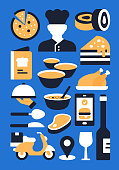Restaurant, Food and Drink Related Flat Style Vector Illustration