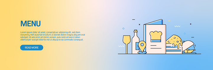 Restaurant, Food and Drink Related Modern Line Style Web Banner Vector Illustration