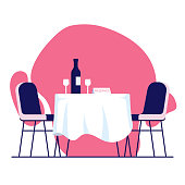 Restaurant, Food and Drink Related Vector Illustration