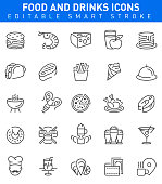 Food and Drinks Icons with burger,cheese,pizza and sushi symbols