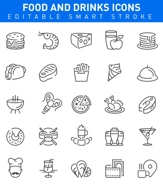 Restaurant Food and Drinks Icons. Editable stroke Food and Drinks Icons with burger,cheese,pizza and sushi symbols mollusk stock illustrations