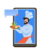 Restaurant food delivery and take-away mobile application concept with chef character holding plate. Online meal ordering, cooking and fast transportation. Flat vector illustration isolated.